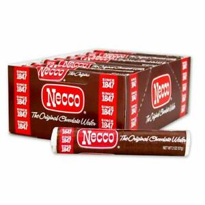 NECCO  Candy Wafers Chocolate - 2oz. Rolls 24 pack ( Whole Box)