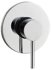 Modern Concealed Manual Shower Mixer Valve 1 Outlet Brass Chrome Round Plate
