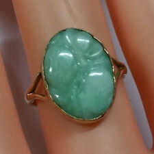 ANTIQUE 9k NATURAL CARVED JADE YELLOW GOLD RING, SIZE 7.5, 3grms, STAMPED