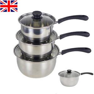 UK Set of 3 Non Stick Stainless Steel Saucepans Cookware Cooking Pots Pan & Lids