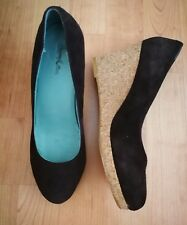 BODEN SIZE 5 SUEDE CORK WEDGES GC
