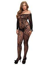 Leg Avenue Plus Size Spiral Lace off The Shoulder Bodystocking 89106q