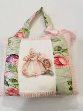 Shabby Chic Nursery Pink Floral Hanging Pillow Handmade Baby And Child Chenille