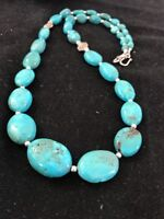 Navajo Sterling Silver Graduated Blue Turquoise Necklace Gift 3412