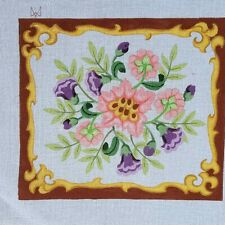 """handpainted needlepoint canvas 13ct baroque flowers 15x13"""""""