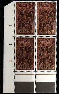 IRELAND 1972 Olympic Council of Ireland, 6p Cylinder Block of 4, MNH
