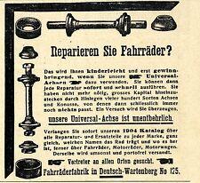 Fahrrad-Universal-Achsen Fabrik Deutsch-Wartenberg Historische Annonce 1904