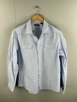 RDX Men's Long Sleeve Shirt with Front Pockets - Size 2XL - Blue Pinstripe