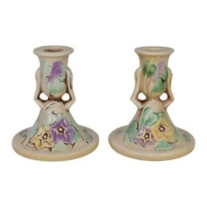 Roseville Pottery Morning Glory 1935 White Candle Holders 1102-4