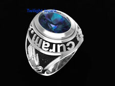 4.80CT Blue Sapphire 2115 Amat Victoria Curam Men's Ring In 925 Sterling Silver