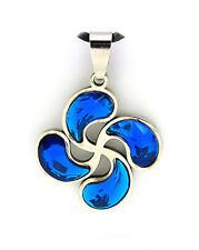 LAUBURU cristal azul COLGANTE acero inox. BASQUE LIVE ideas pa REGALO país vasco