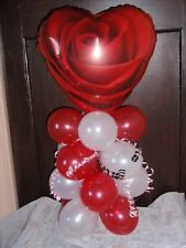 "18"" ROSE BALLOON TABLE DISPLAY LOVE VALENTINE MOTHERS DAY AIR FILL NO HELIUM  RW"