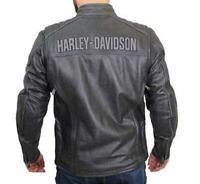 HARLEY DAVIDSON Style Herren Midway Distressed mit Reflective Piping Lederjacke