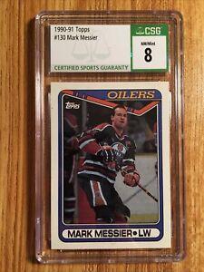mark messier csg 8 nm/mint 1990-91 Topps oilers card rangers goat hof