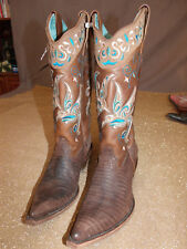 RARE CORRAL Ladies C1093 TurquoiseBlue/Tan Whimsical Bird Stitch Embroidery Boot