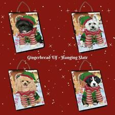 Christmas Gingerbread Elf Dog Cat Pet Photo Lovers Hanging Slate Home Wall Decor