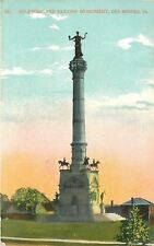 Des Moines Iowa~Soldiers' and Sailors' Monument~Houses in Background 1909 PC