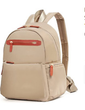 ECOSUSI Lightweight Nylon Backpack Small Purse for Women Beige L11 x W5.5 x H13