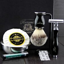 Ready to Use 6 Pcs Men's Shaving Set ft DE Safety & Synthetic Brush Gift Kit Him