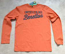 United Colors of Benetton Boys Casual Orange Crew Neck Long Sleeve TShirt 13-14y