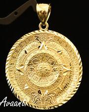 10k Real Gold Aztec Mayan Mexico (Mexican) Sun Calendar Medallion Pendant Charm