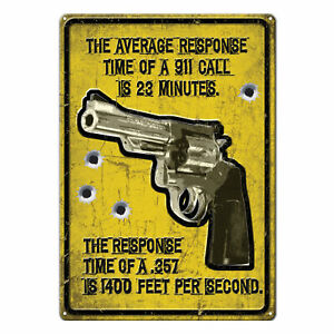 Tin Sign, The Average Response Time Of A 911 Call, Weatherproof with