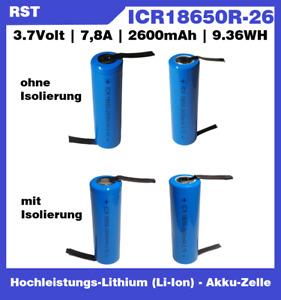 18650 Li-Ion Akku 3,7V 2600mAh Lithium Ionen mit Lötfahne U Z und Isolierung