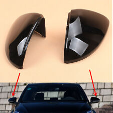 Fit VW Golf 7 MK7 VII e-Golf 14-19 Rearview Mirror Covers Caps Black Left+Right