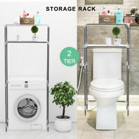 2 Shelf Over The Toilet Bathroom Space Saver Towel Storage Rack Organizer Gray
