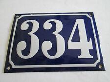 Hausnummer Emaille Nr. 334 weisse Zahl auf blauem Hintergrund 14 cm x 10 cm