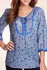 M&S Cotton Rich Floral Print Top with Silk, SZ 16, Blue Mix, BNWT