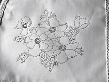 Printed to hand Embroider cotton Table Runner with flowers Anemones CSOO18