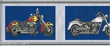 Motorcycles Red Flame Black Silver Frame BLUE Wallpaper Border