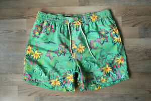 Polo Ralph Lauren Vintage Swim Shorts Trunks Boardshorts Floral Print Hawaii M