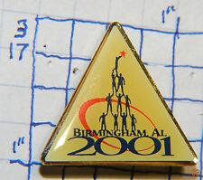 "ALABAMA, BIRMINGHAM 2001 TRIANGLE SOUVENIR METAL HAT LAPEL 1"" PIN"