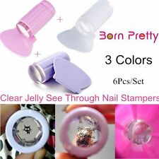 6Pcs/Set Jelly Silicone Nail Art Manicure Stamp Image Plate Stampers+Scrapers