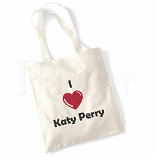 'I love (Heart) Katy Perry' Cotton Canvas Reusable Shopping Tote Bag