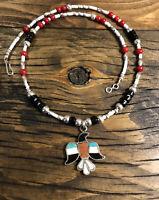 #814 Vintage Zuni Navajo Inlay Thunderbird, Eagle Turquoise, Onyx, Coral, 925