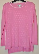 Elle Women's Pink Enamel Dot Crewneck Long Sleeve Sweater Sz S