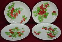 "SEYMOUR MANN china RED FRUIT BERRIES pattern SALAD/DESSERT PLATE 8"" set of FOUR"