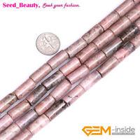 "Natural Gemstone Column Tube Assort Stone Beads for Jewelry Making Strand 15"""