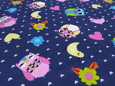 Stoff Baumwolle Jersey Eulen Herzen Blumen blau rosa bunt Kinderstoff