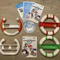 Mario Kart Wii - Nintendo Wii Game Complete w/ 4 Steering Wheels - TESTED WORKS!