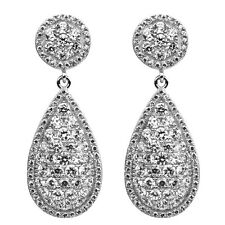 Diamond-Unique Micro Pave Set Dropper Earrings Silver Rhodium Platinum (46495)