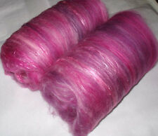 Softest Merino Silk Batts, PINKS, spinning wool,wet/nuno/needle felting,batting