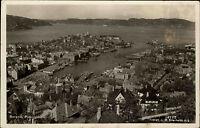 Bergen Norwegen Norge AK ~1920/30 Hafen havn Panorama Utsikt Stadt ungelaufen