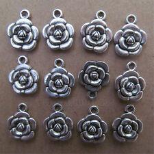 20pc Tibetan Silver Dangle Charm Double-sided Beads Rose Flower wholesale BO16P