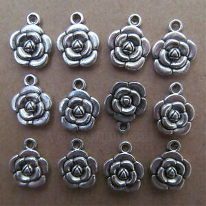 20pc Tibetan Silver Dangle Charm Double-sided Beads Rose Flower wholesale BO16P