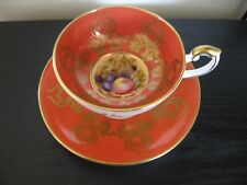 AYNSLEY ORANGE FRUIT BOTTOM D JONES PEDESTAL TEACUP AND SAUCER