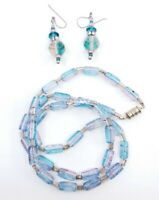 Vintage Watermelon Blue & Pink Glass Necklace w Earrings Set